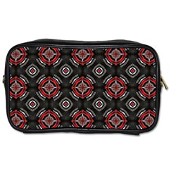 Abstract Black And Red Pattern Toiletries Bags 2 Side