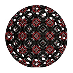 Abstract Black And Red Pattern Round Filigree Ornament (two Sides)