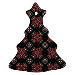Abstract Black And Red Pattern Christmas Tree Ornament (two Sides)