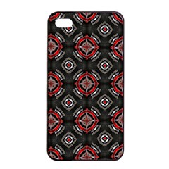 Abstract Black And Red Pattern Apple Iphone 4/4s Seamless Case (black)