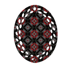 Abstract Black And Red Pattern Oval Filigree Ornament (two Sides)