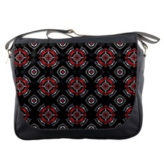 Abstract Black And Red Pattern Messenger Bags