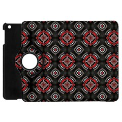 Abstract Black And Red Pattern Apple Ipad Mini Flip 360 Case