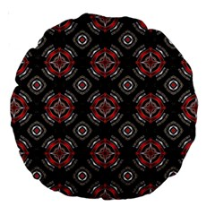 Abstract Black And Red Pattern Large 18  Premium Round Cushions