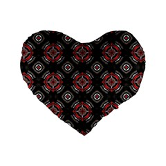 Abstract Black And Red Pattern Standard 16  Premium Heart Shape Cushions
