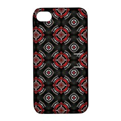 Abstract Black And Red Pattern Apple Iphone 4/4s Hardshell Case With Stand