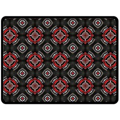 Abstract Black And Red Pattern Double Sided Fleece Blanket (large)