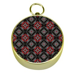 Abstract Black And Red Pattern Gold Compasses