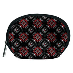 Abstract Black And Red Pattern Accessory Pouches (medium)