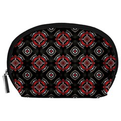 Abstract Black And Red Pattern Accessory Pouches (large)