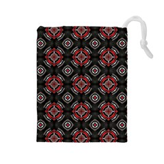 Abstract Black And Red Pattern Drawstring Pouches (large)