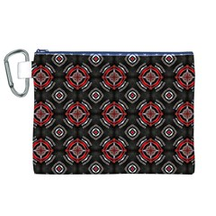 Abstract Black And Red Pattern Canvas Cosmetic Bag (xl)