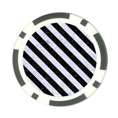 Stripes3 Black Marble & White Marble (r) Poker Chip Card Guard