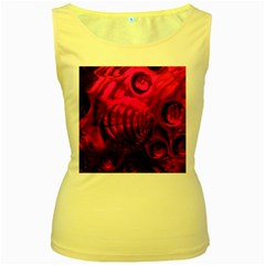 Abstract Bubble Background Women s Yellow Tank Top