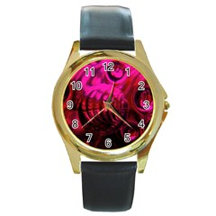 Abstract Bubble Background Round Gold Metal Watch