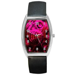 Abstract Bubble Background Barrel Style Metal Watch