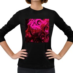 Abstract Bubble Background Women s Long Sleeve Dark T Shirts