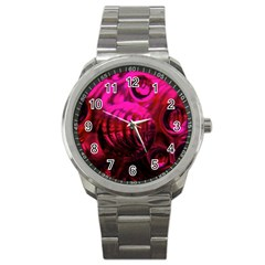 Abstract Bubble Background Sport Metal Watch
