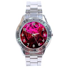 Abstract Bubble Background Stainless Steel Analogue Watch