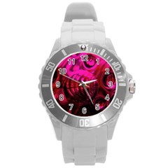 Abstract Bubble Background Round Plastic Sport Watch (l)