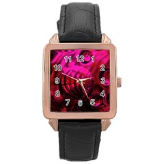 Abstract Bubble Background Rose Gold Leather Watch
