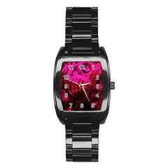 Abstract Bubble Background Stainless Steel Barrel Watch