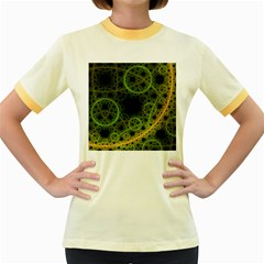 Abstract Circles Yellow Black Women s Fitted Ringer T Shirts