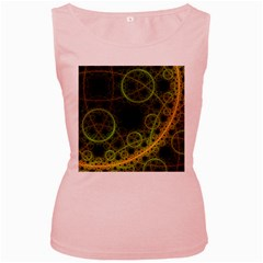 Abstract Circles Yellow Black Women s Pink Tank Top