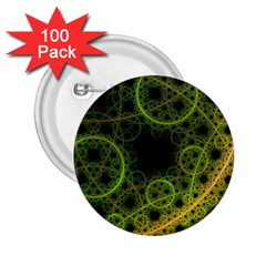 Abstract Circles Yellow Black 2 25  Buttons (100 Pack)