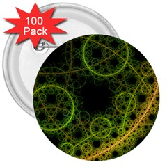 Abstract Circles Yellow Black 3  Buttons (100 Pack)