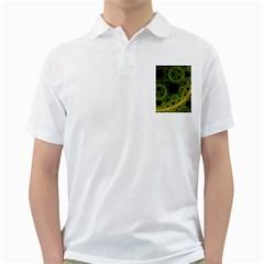 Abstract Circles Yellow Black Golf Shirts
