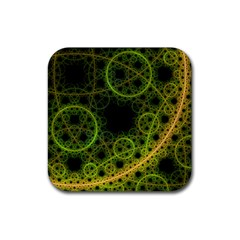 Abstract Circles Yellow Black Rubber Square Coaster (4 Pack)