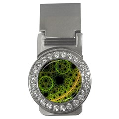 Abstract Circles Yellow Black Money Clips (cz)