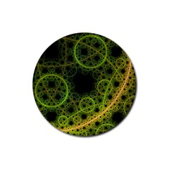 Abstract Circles Yellow Black Rubber Coaster (round)
