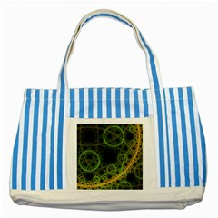 Abstract Circles Yellow Black Striped Blue Tote Bag