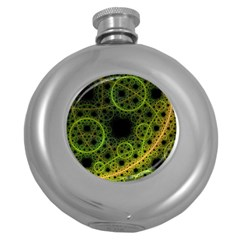 Abstract Circles Yellow Black Round Hip Flask (5 oz)
