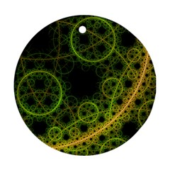 Abstract Circles Yellow Black Round Ornament (two Sides)