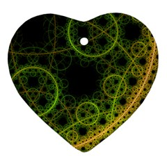 Abstract Circles Yellow Black Heart Ornament (Two Sides)