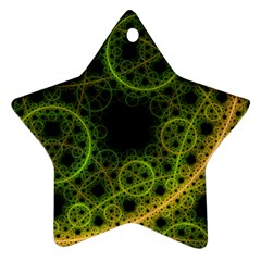 Abstract Circles Yellow Black Star Ornament (two Sides)
