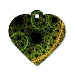 Abstract Circles Yellow Black Dog Tag Heart (One Side)