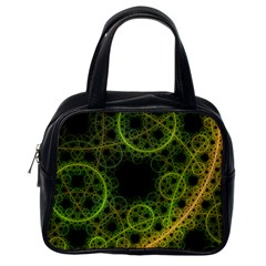 Abstract Circles Yellow Black Classic Handbags (one Side)