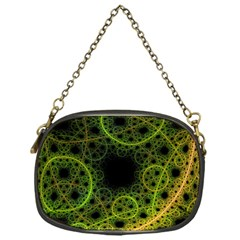 Abstract Circles Yellow Black Chain Purses (one Side)