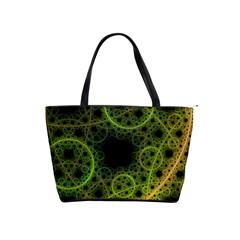 Abstract Circles Yellow Black Shoulder Handbags