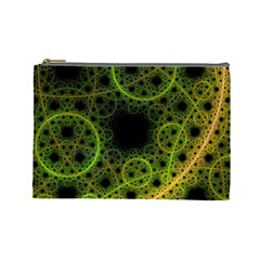 Abstract Circles Yellow Black Cosmetic Bag (large)