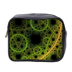 Abstract Circles Yellow Black Mini Toiletries Bag 2 Side