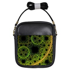Abstract Circles Yellow Black Girls Sling Bags