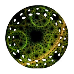 Abstract Circles Yellow Black Round Filigree Ornament (two Sides)