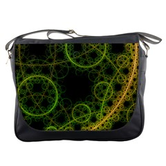 Abstract Circles Yellow Black Messenger Bags