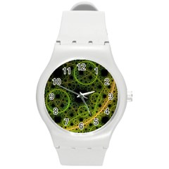 Abstract Circles Yellow Black Round Plastic Sport Watch (m)