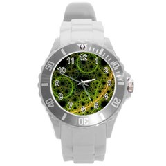 Abstract Circles Yellow Black Round Plastic Sport Watch (l)